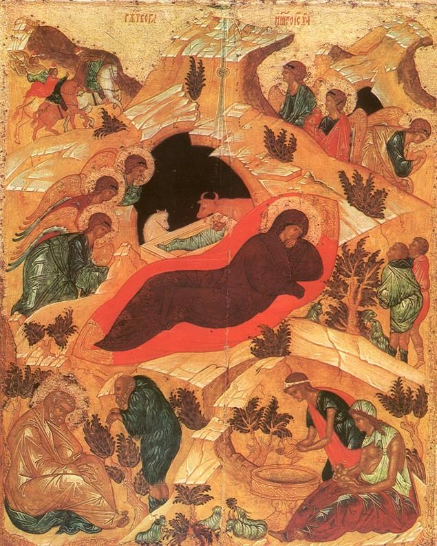 Андрей Рублев. Рождество Христово. Икона праздничного чина иконостаса Благовещенского собора Московского Кремля, 1405 г.